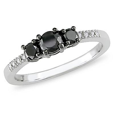 Zales 1/4 CT. T.w. Enhanced Black and White Diamond Double Row Contour Band in 10K White Gold 5ls0r