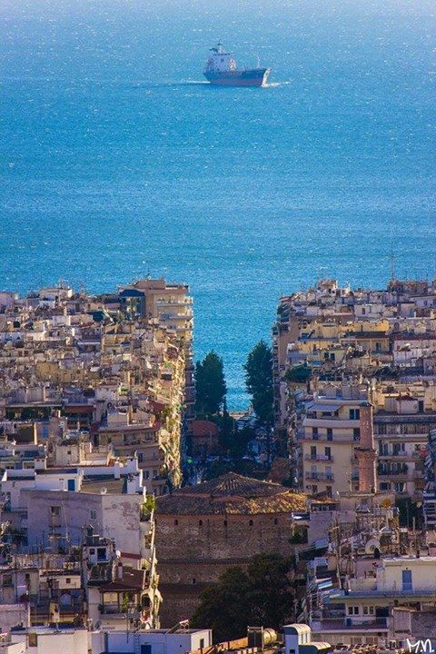 Thessaloniki, Greece - unusual perspective, almost looks like the sea is the sky