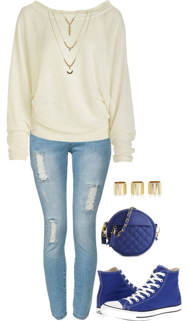 """Knit Sweater w/ Ripped Jeans, Converse Sneakers & Gold Acessories"" by sarratori ❤ liked on Polyvore"