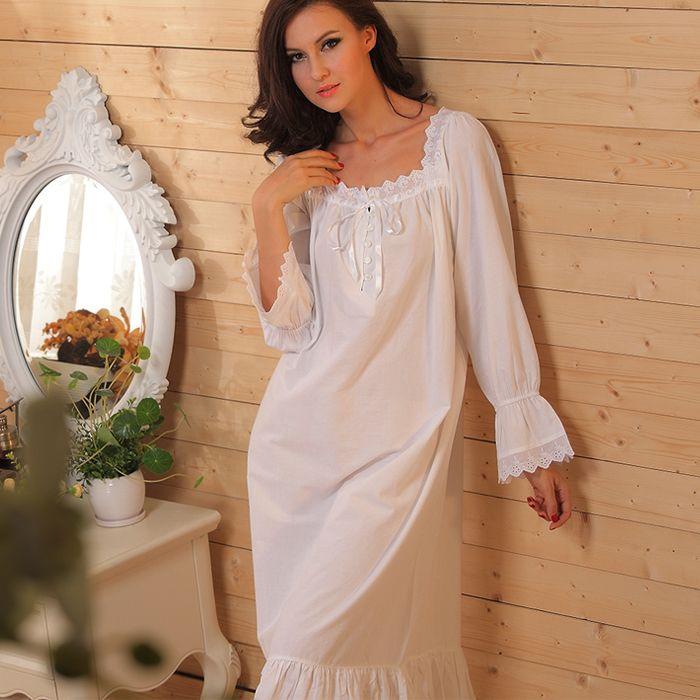 Купить товарЧистый хлопок ночной рубашке ретро дворец длинная длинными рукавами пижама принцесса рубашки пижамы для женщины ночное для дома одежда в категории Ночные рубашки для женщинна AliExpress.               Европа и Соединенные Штаты  стиль чистого хлопка       Суд железнодорожного       Принцесса       Ру
