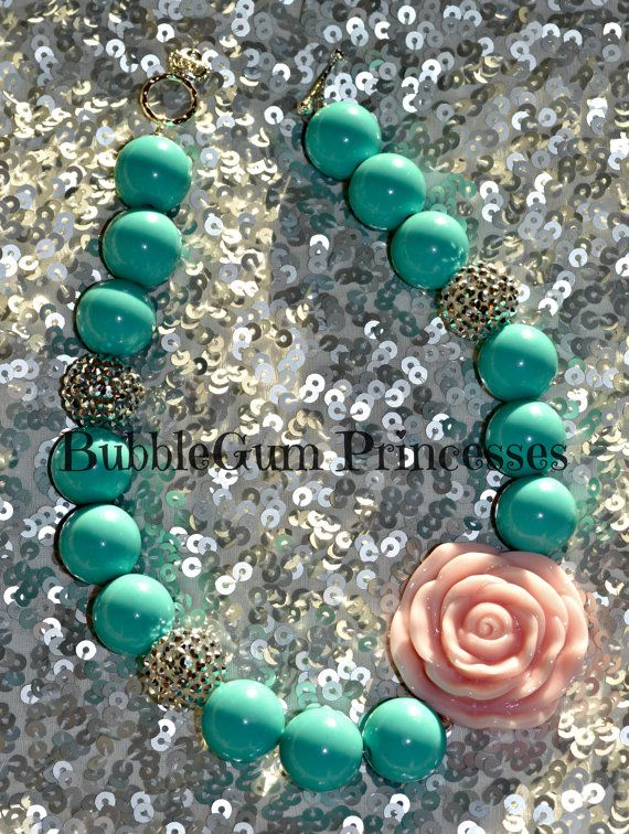 Chunky BubbleGum bead necklace Tiffany BLUE/GREEN color with Platinum Sparkle- Petal pink rose girl toddler baby Jewelry Princess Summer on Etsy, $18.00