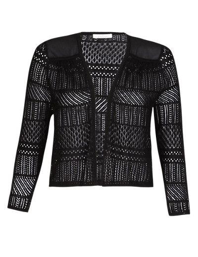 Black Pure Cotton Pointelle Shrug Clothing