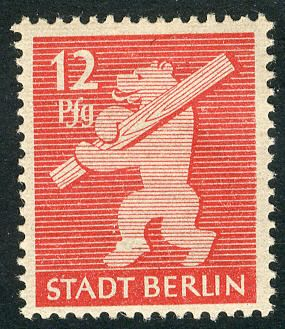 12 Pf. Berlin bear 1945, perforated, with variety VII., in perfect condition mint never hinged, superb. M€ 450,--  Lot condition **  Dealer ...