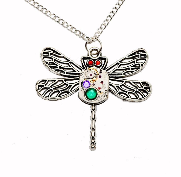 Tibetan Silver Steampunk Dragon Fly Watch movement Pendant Necklace. Hand Made in Cornwall, UK by thelongwayround on Etsy