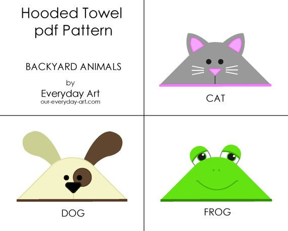 Hooded Towel Pattern (Backyard Animals) is a pdf pattern. The pdf includes patterns for cat, dog, and frog hooded towels and a detailed tutorial with easy to follow instructions and photos. The pattern is best sized for a baby or young toddler. (Completed towel will be approximately 3 feet square.)    These adorable animal hooded towels are the perfect gift for a new baby! The possibilities are endless, and with the pattern as a pdf, you can print, cut, and sew as many cute towels as you…
