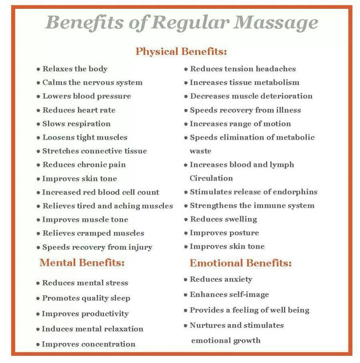 Massage benefits...I have seen many of these from being in massage school and receiving massages 3x/week..amazing!