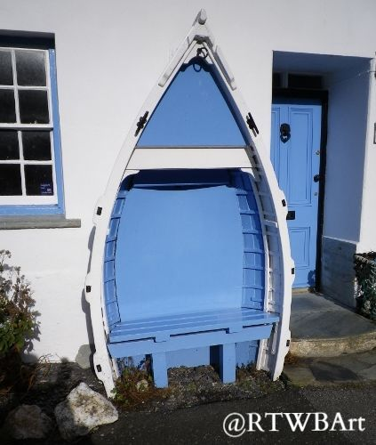BLUE BOAT BENCH AT BOSCASTLE: Loved this idea for a seat from a boat & also the beautiful blue & white. A favourite place, Boscastle, a pretty fishing village and harbour is on the north Cornwall coast.  #RTWBArt for my other photos. Original content photograph and copyright by Richard Brookes  To see a larger, higher resolution version and other print formats available please click on this link http://richard-brookes.artistwebsites.com/featured/boscastle-blue-bench-richard-brookes.html