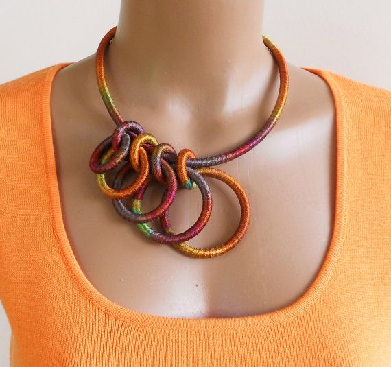 Statement Necklace Wearable Fiber Art Coleus by fiber2love on Etsy, $48.00