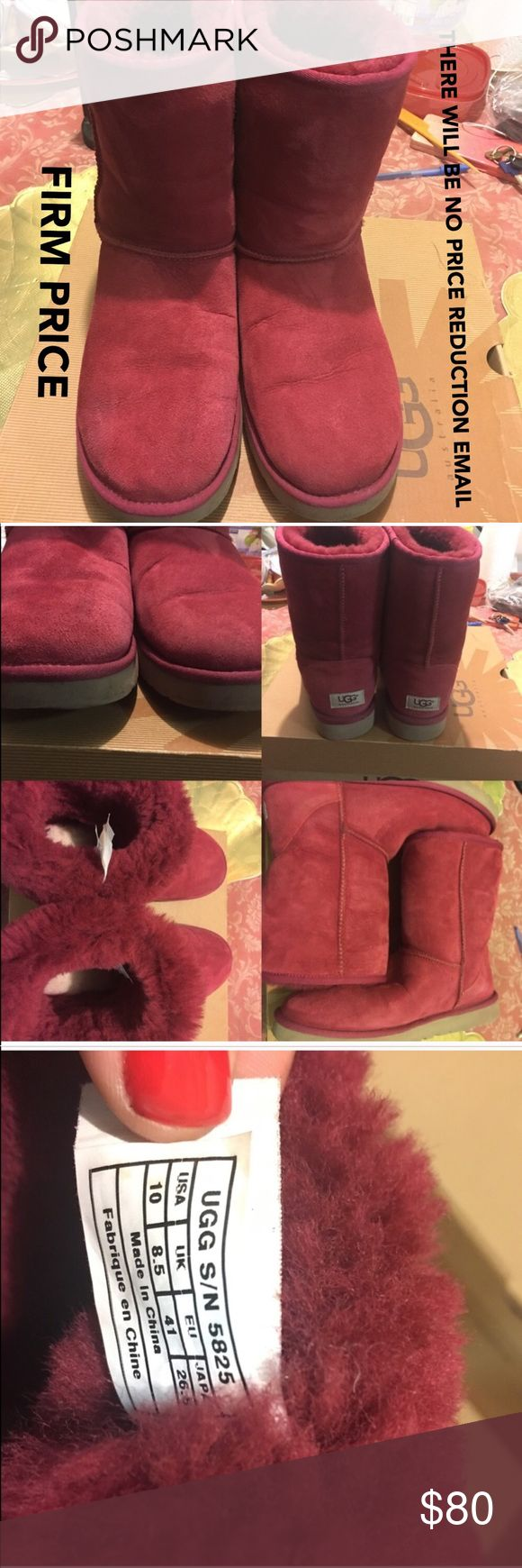 Authentic UGG Classic Short II ✅ITEM WILL BE VIDEOTAPED WHILE BEING PACKED AT THE POST OFFICE✅ 🚫THERE WILL BE NO PRICE REDUCTION EMAIL COMING YOUR WAY🚫 PAID $160 & COLOR IS RED. CONDITION: pristine, no stains, dirt (inside or out), smells or matted fur.  Worn a 5 times, heel in back or front not ran down. Runs true to size.  Feet slides right in, WIDE WIDTH FRIENDLY (me). Questions welcomed. UGG Shoes Winter & Rain Boots