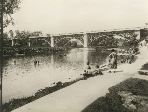 "Toronto 1920s ""Bathers in the Humber River in 1925. Bloor St. bridge in the background."" - Thanks to Chris Bateman for finding this pic. Familiar ground! This is where I rode my bike as a kid, a mere 50 years later. ;-)"