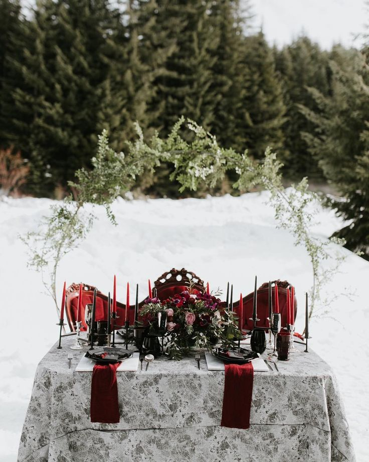 Red Winter Wedding Theme Outdoor Wedding Reception With