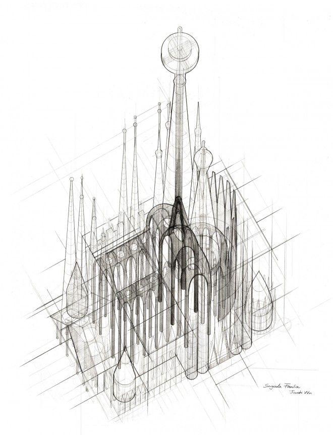 Plan Elevation Oblique : Jianshi wu s plan oblique drawing of sagrada família