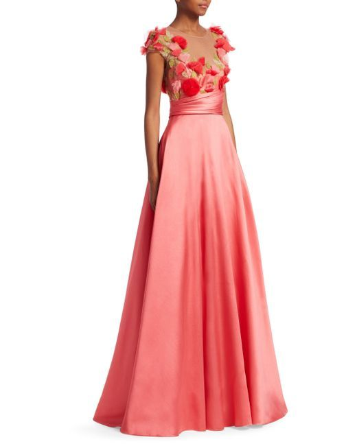 f6a7f5c3c203 Marchesa notte - Pink Embroidered Floral Cap-sleeve Ball Gown - Lyst ...