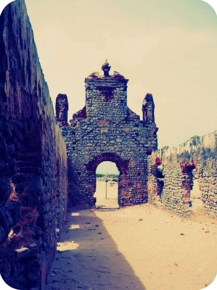 Remains of a Church in Dhanushkodi which was wiped off by Cyclone in 1964