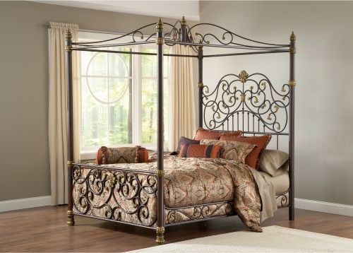 Wrought Iron Canopy Bed - The Canterbury I