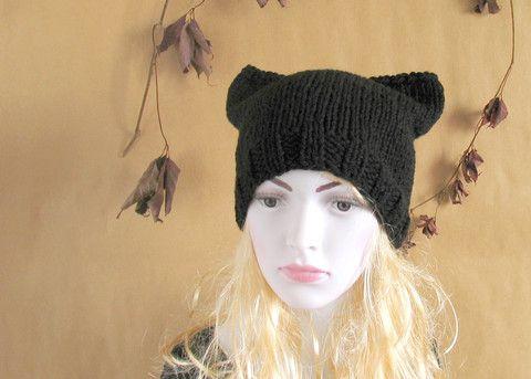 Womens Hat Knit Hat Cat Ears Women Hat Cat Beanie Chunky Knit Winter Accessories BLACK Cat Animals Hat cat ears hat