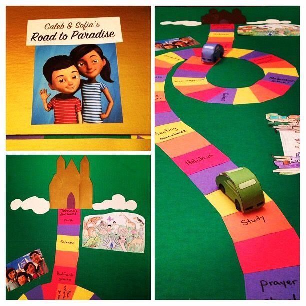 Caleb & Sofia's Road to Paradise Game board for family worship Just go over the things we need to do on the road to Jehovah's kingdom then add a few of the worlds distractions as set backs. My kids absolutely love this and are eager to discuss the block they land on. jw caleb and sofia fun kids