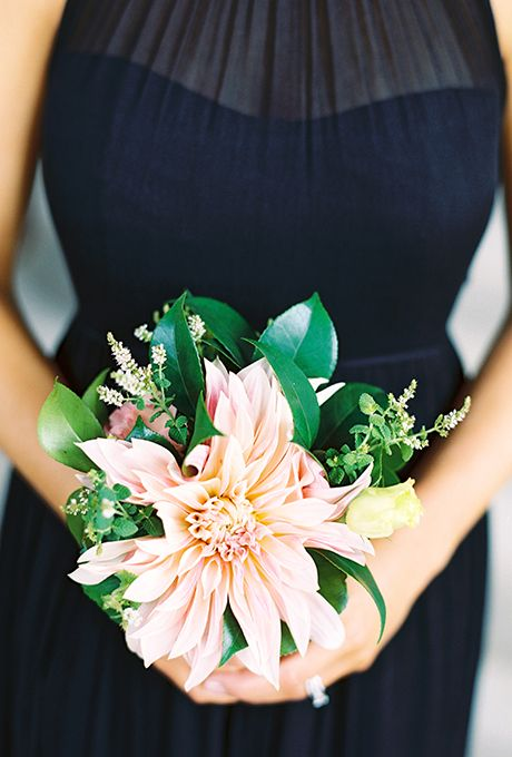 Pink Dahlia Bouquet. A simple and sweet posy comprised of dahlias and greenery, created by Amaryllis, Inc.