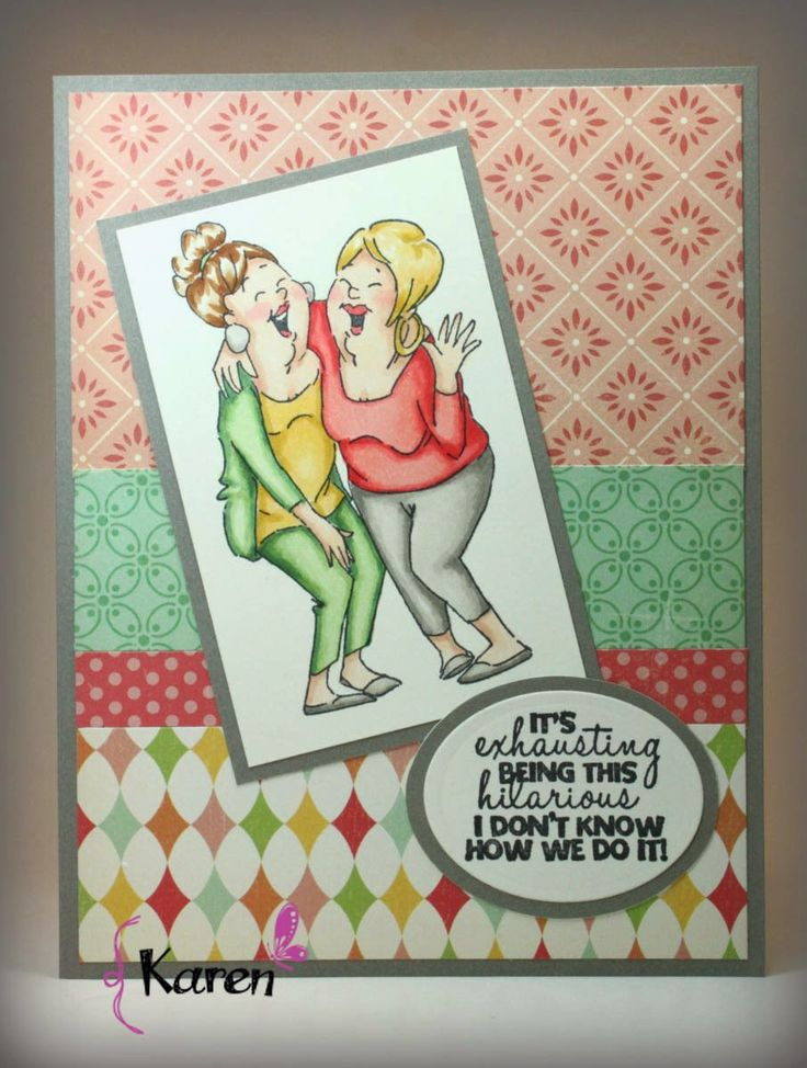 How To Make Friendship Cards Part - 30: Karen Day Using Art Impressions Laughing Set · Funny PhrasesFriendship CardsScrapbook  ...