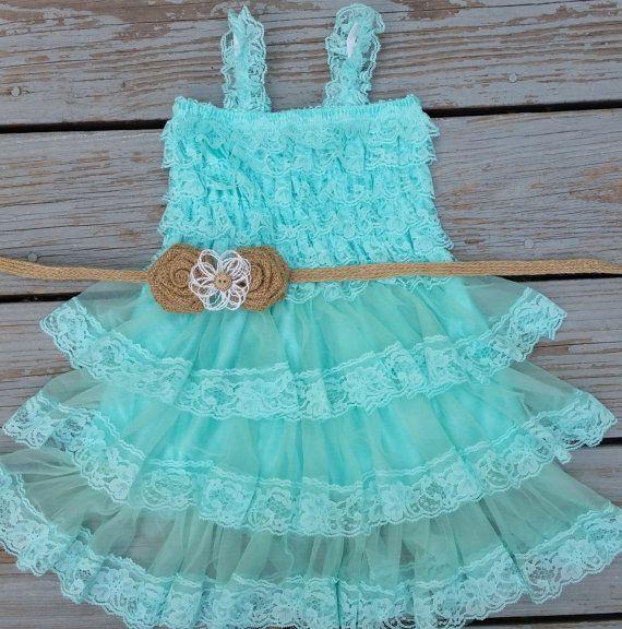 Mint-Aqua-Turquoise Burlap Flower Girl Dress -Lace Pettidress-Country Flower Girl Dress-Flower Girl Dress-Seafoam Flower Girl Dress