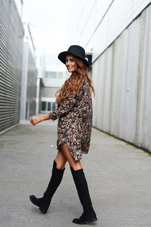Boho Street Style Inspiration: Oversized Printed Shirt Dress + Floppy Hat Look #johnnywas