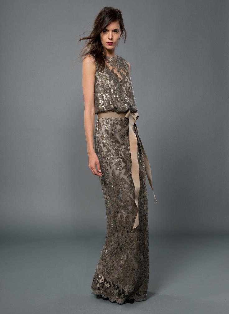 Paillette Embroidered Lace Blouson Gown in Smoke Pearl | Tadashi Shoji