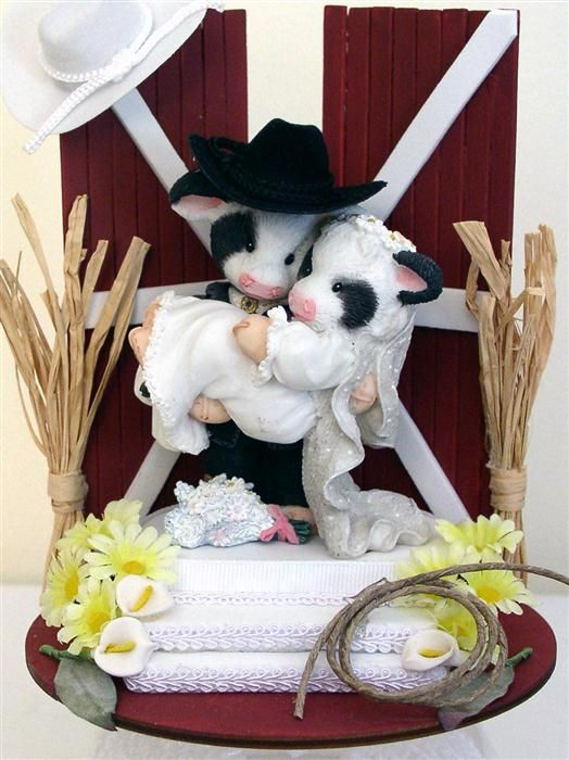 Mary Moos Country Western Cows Wedding Cake Topper Stuff