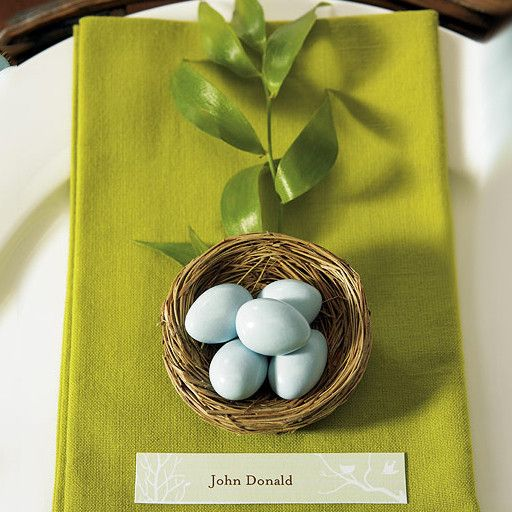 Creative opportunity awaits to express your party and wedding theme with these tidy petite bird nest favors. Add Jordan Almonds, chocolate eggs or place cards.