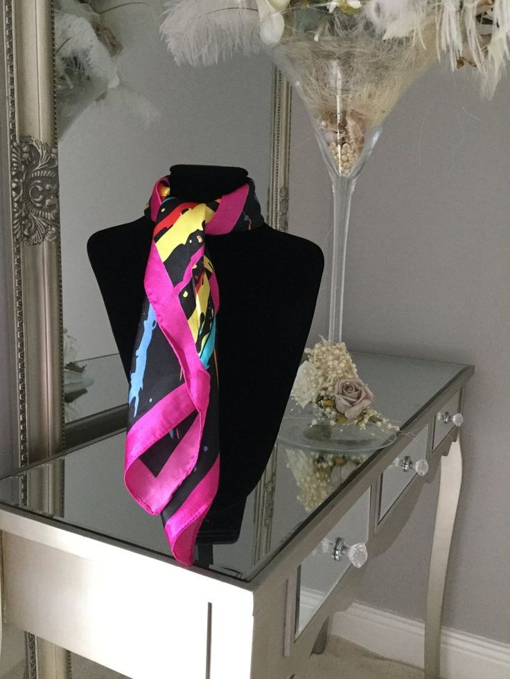 Black and Multicolour Splatter Print Scarf stunning silk scarf is perfect to tie around your neck in numerous ways