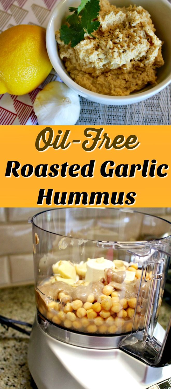 Oil-Free Roasted Garlic Hummus for a healthy, plant-based spread or dip. Nutritarian, vegan, healthy recipe.