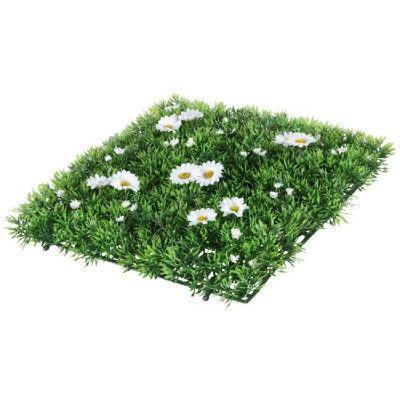 Dalle de gazon, dim. 25x25 cm, structure plastique et fleurs artificielles.<br>