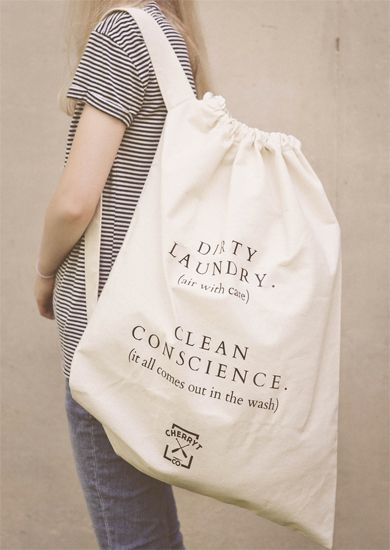 "Thoughtfully made in Canada, our large eco-cotton canvas laundry bag is Inspired from vintage camp aesthetics. CherryT's ""dirty laundry. clean conscience."" bags are constructed from a soft, heavy-duty 100% natural, 10oz cotton canvas, perfect for heavy loads. These are not flimsy laundry bags being made overseas."
