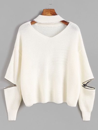 Ivory Choker Neck Sweater With Sleeve Zip Detail  Shein.com