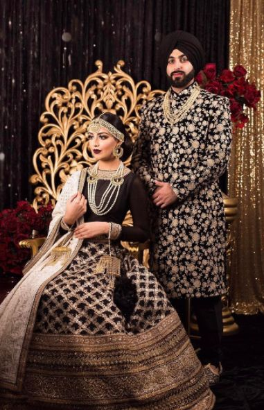 """""""Fashion is art and you are the canvas"""" Here's a beautifully captured image @pinkorchidstudio most recent shoot! ✨The beautiful models are both dressed in stunning a #Wellgroomedinc designed lehenga and sherwani! We had the pleasure of working with some of the industries finest on this shoot! ✨"""