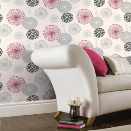 BQ Lucienne Grey Red Floral Wallpaper