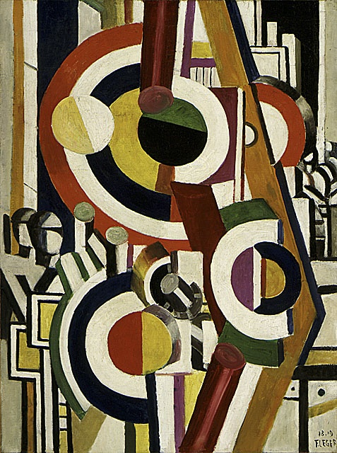 Fernand Léger (France, Argentan, 1881 - 1955) The Disks, 1918-1919 Painting, Oil on canvas, David E. Bright Bequest (M.67.25.2)  Léger idealized the relationship between man and machine. The anonymous figures in The Disks stand for mechanical workers, engineers, and designers thriving in a modern world of machines. Léger gave these workers the name Homo faber, or Man the Maker. He saw mankind's dramatic struggle to master machinery as an affirmation of the human will.