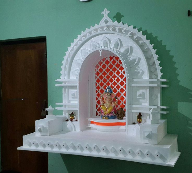 Ganesh Pooja Decoration With Thermocol Craft