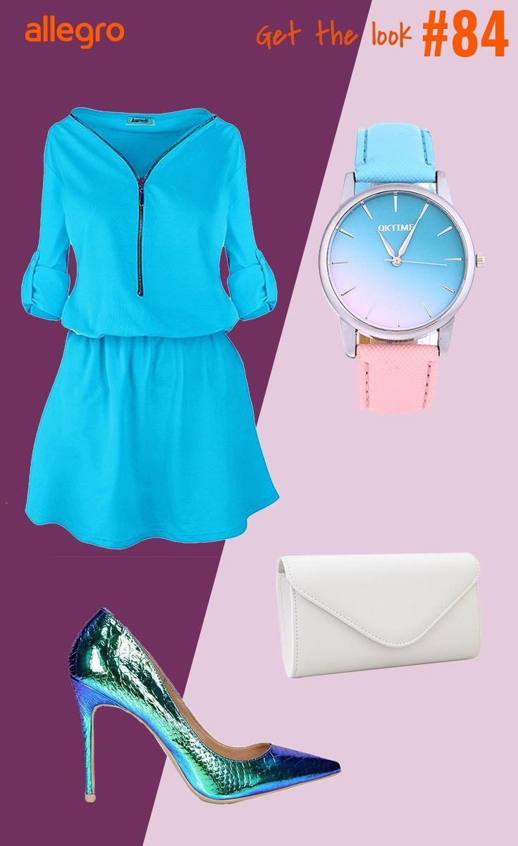 Niebieska Sukienka Dwukolorowy Zegarek Pudrowy Zegarek Torebka Kopertowka Czolenka Wezowe Fashion Polyvore Polyvore Image