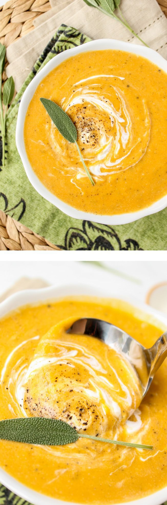 Roasted Butternut Squash Soup // This soup is full of flavor but not calories! Comfort food for a cold night.