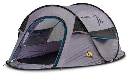 Deze pop up tent van Mistral staat in 10 seconden en is zeer geschikt voor festival gangers. De tent is echt bedoelt als slaaptent en heeft dan ook geen voorgedeelte. >> http://www.kampeerwereld.nl/safarica-mistral-150-licht-grijs-zwart-kobalt/