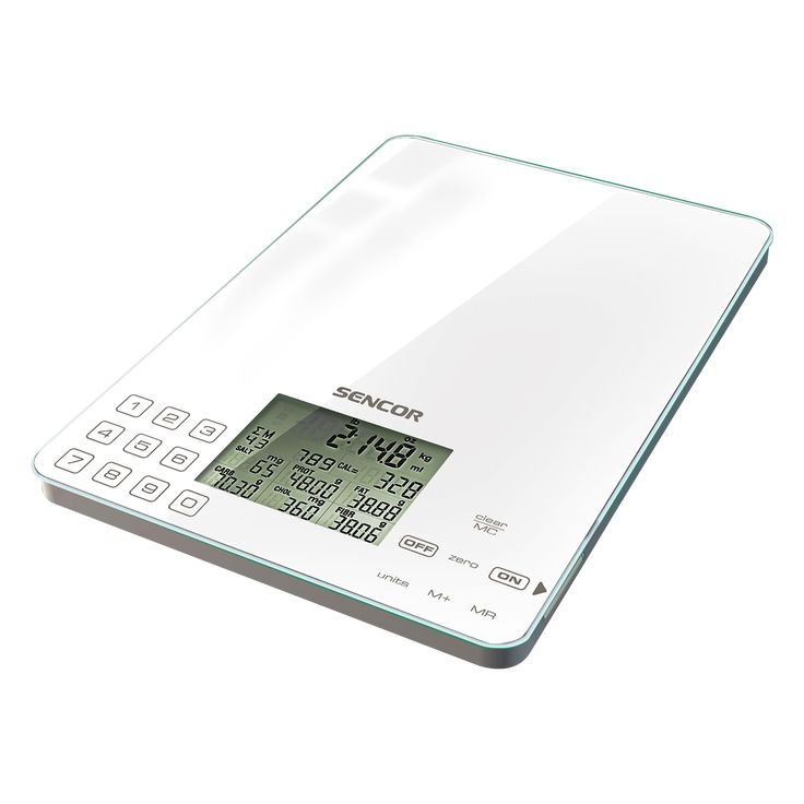 Sencor Dietary Kitchen Scale SKS 6000 - Displays calories, sodium, protein, fat, carbohydrates, - Extra large LCD display (60 x 45 mm) - Hardened safety glass