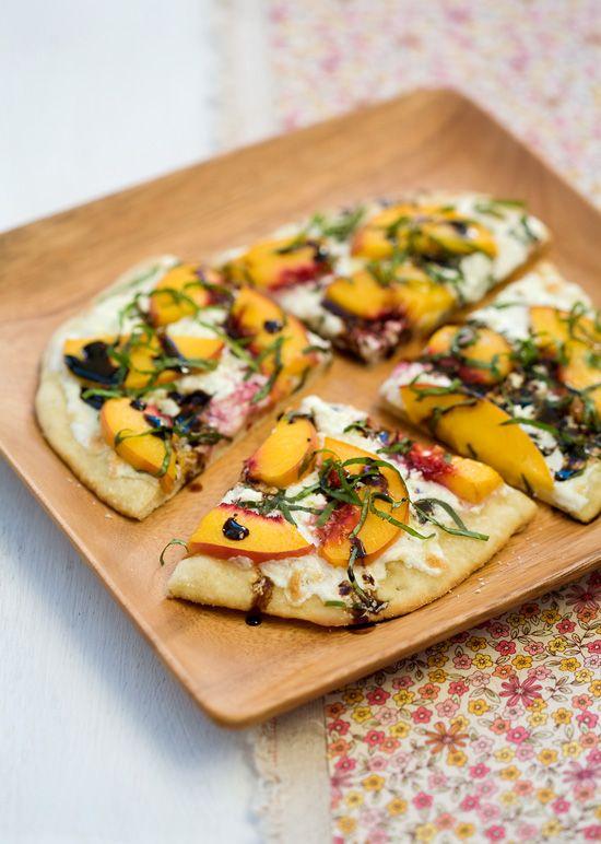 Peach, Goat Cheese, Basil & Balsamic Pizza
