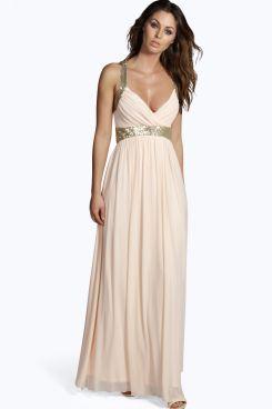 Boutique Soraya Sequin Panel Mesh Maxi Dress at boohoo.com