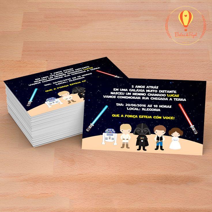 Convite com tema Star Wars.  Acompanha envelope liso + fecho adesivo.  Desenvolvemos qualquer tema.  Feito em papel 180gr.