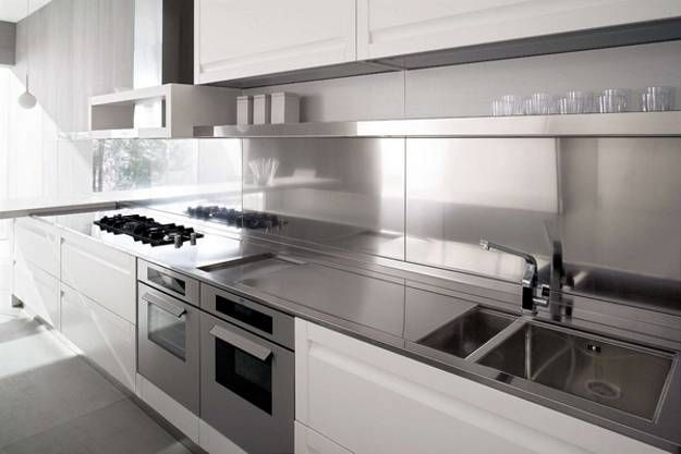 modern kitchens, stainless steel kitchen countertop ideas