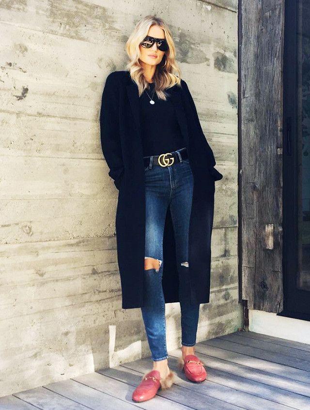 On Rosie Huntington-Whitely: Saint Laurentsunglasses; Acne Studios Foin Double Coat($1450); James Perse Casual Slub Cotton-Jersey Shirt($75); Paige jeans; Gucci Princetown...