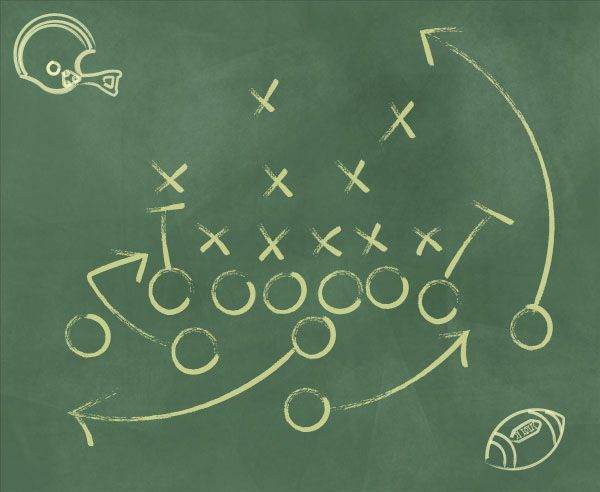 Football Play Diagram Vector Chalkboard Background