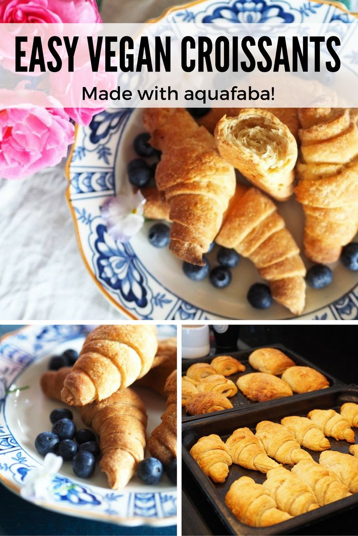 Easy vegan croissants and pains au chocolat recipe, made with homemade aquafaba dairy-free butter.