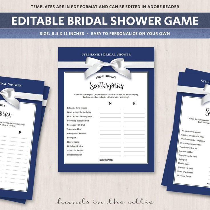 Bridal Shower Scattergories Navy Blue Printable