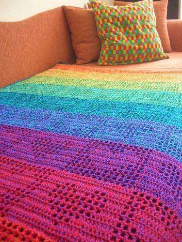 Rainbow Hearts Filet Crochet Afghan / Curtain - CROCHET
